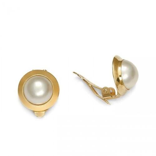 Złote klipsy Isabel z perłą mabe