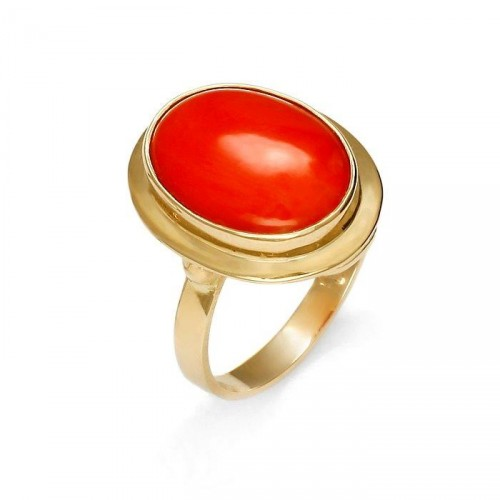 Gold ring with natural coral
