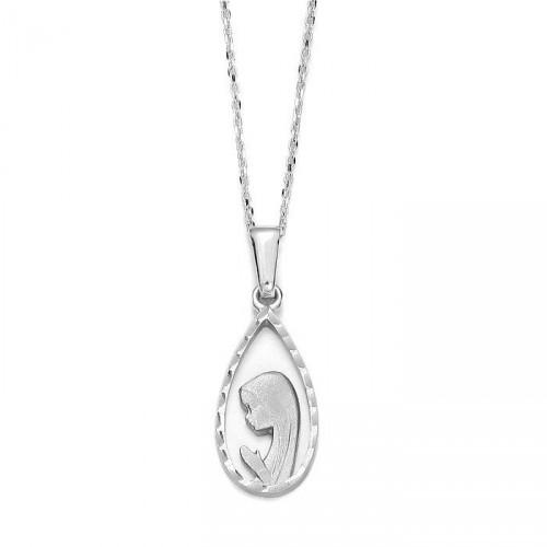Medalik z białego złota Maryjka