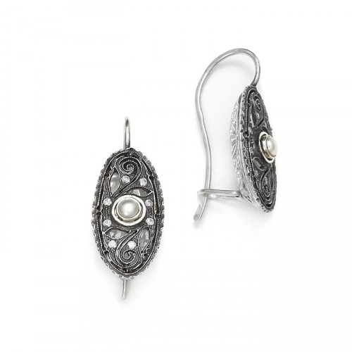 """Kolczyki """"Maria"""" w stylu Art Deco z perłą"""