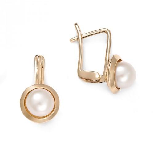 Złote kolczyki z perłą